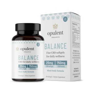 White box and black bottle of CBD balance softgels from Opulent Organics
