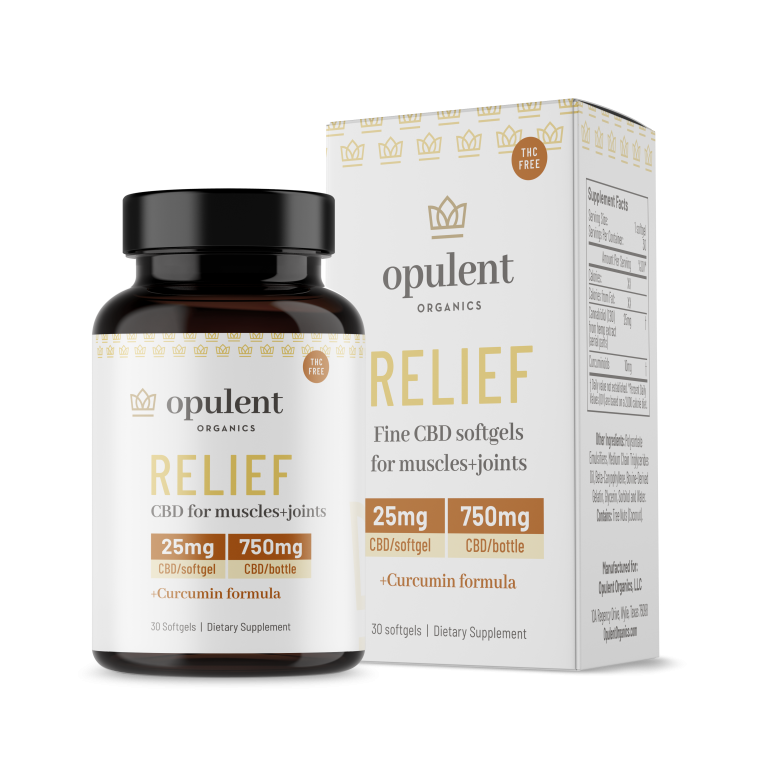 bottle and box of Opulent Organics CBD relief softgels